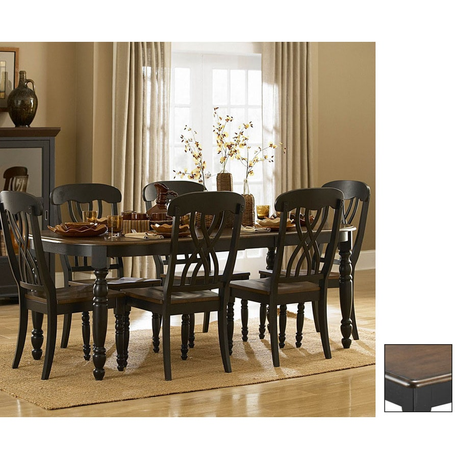 Shop homelegance ohana cherry antique black rectangular for Dining room tables lowes