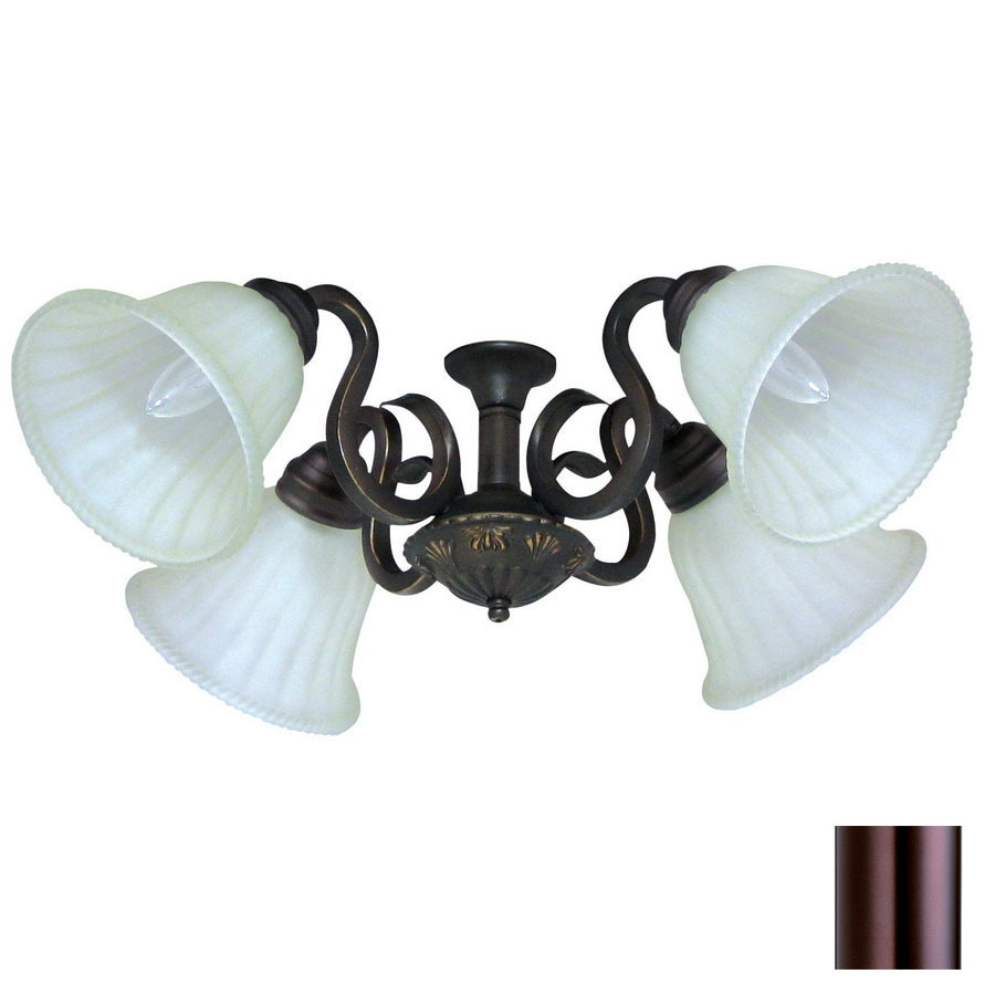 Shop yosemite home decor 4 light oil rubbed bronze ceiling fan light kit with alabaster glass at Home decorations light kit