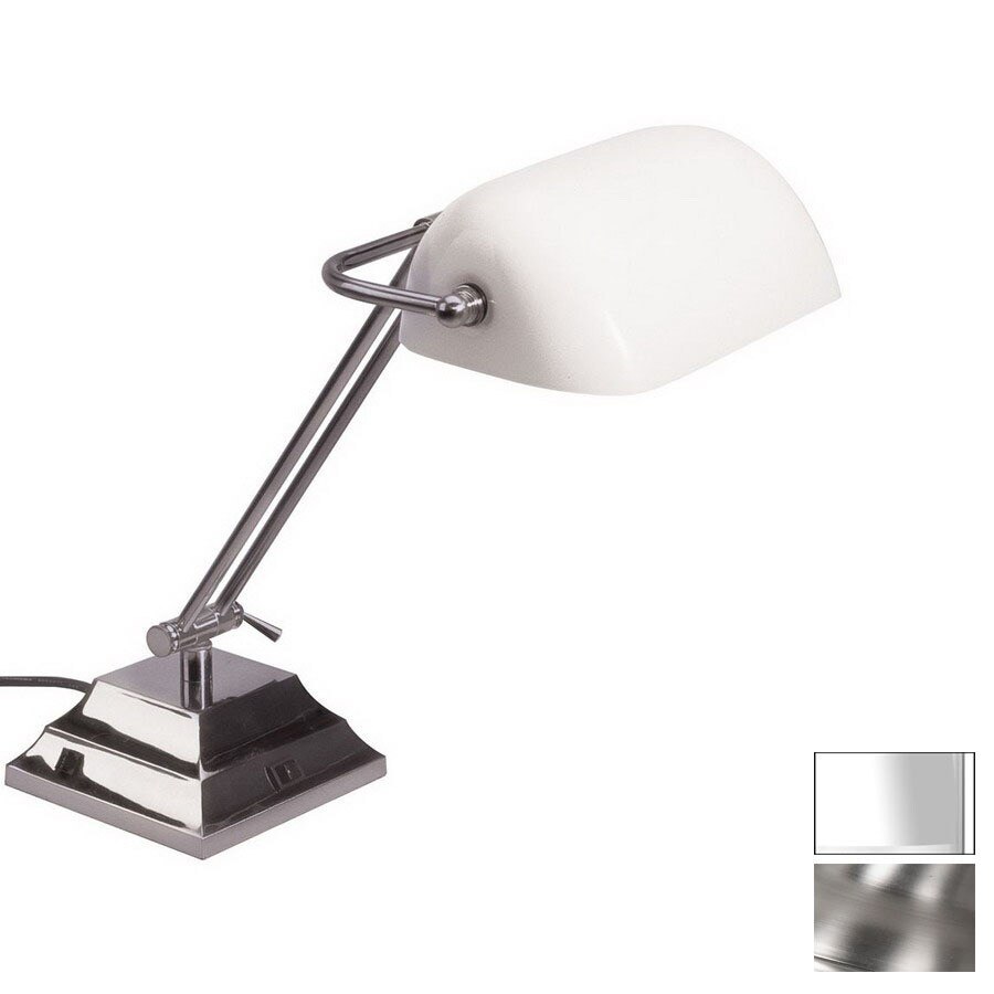 Dainolite Lighting 18-in Adjustable Satin Chrome Touch Desk Lamp with Glass Shade