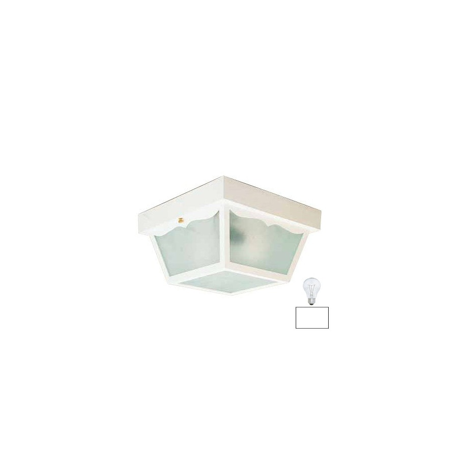 Volume International 8-1/4-in White Outdoor Flush Mount Light