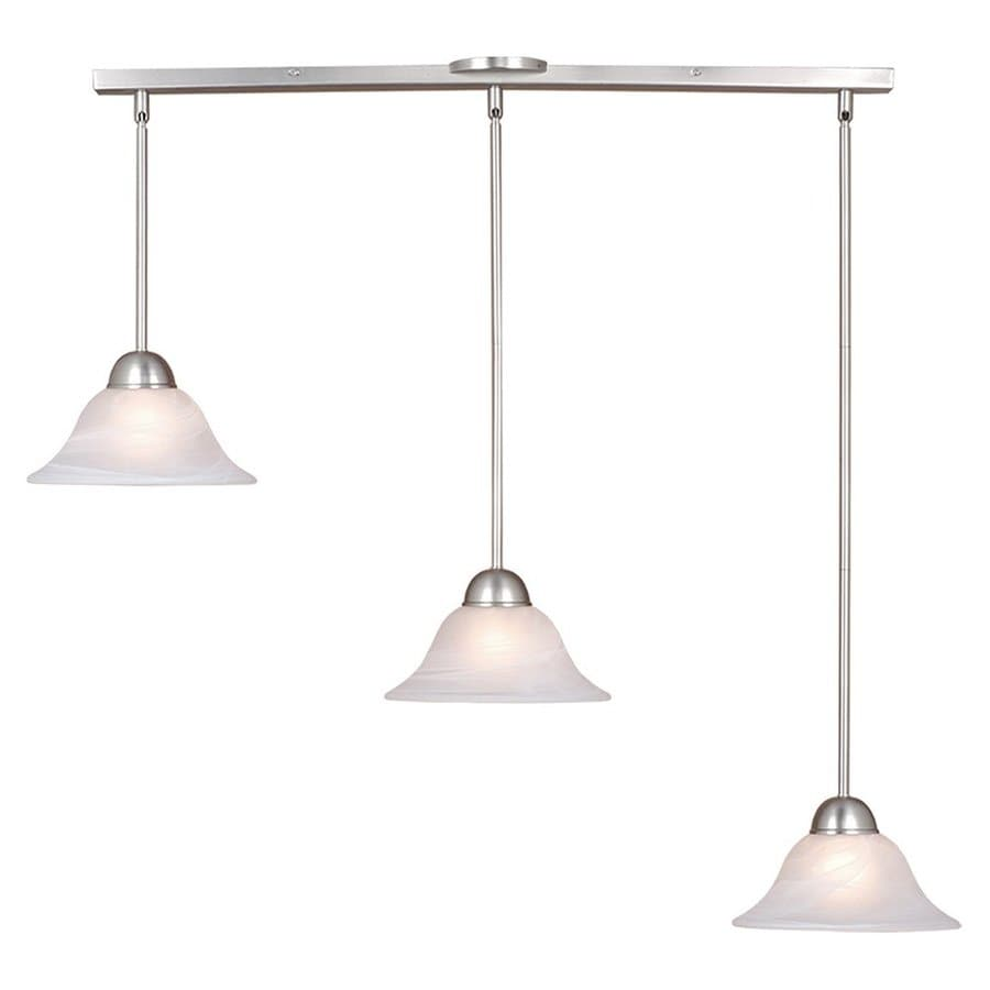 Shop Cascadia Lighting Da Vinci 39 In W 3 Light Brushed Nickel Kitchen Island Light With Shade
