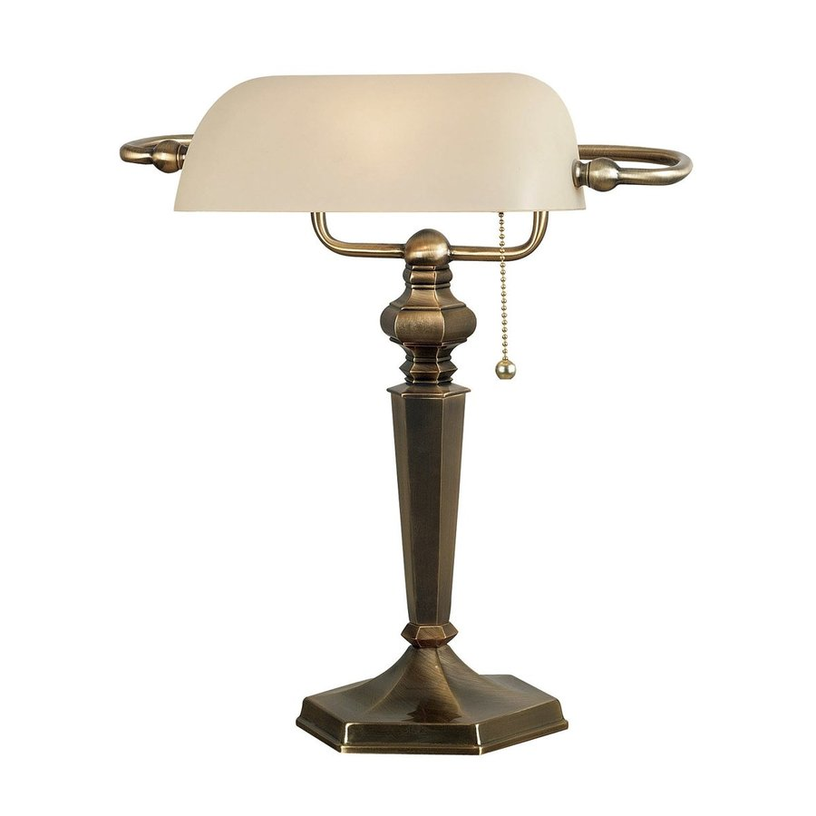 Kenroy Home Mackinley 15-in Georgetown Bronze Desk Lamp with Glass Shade