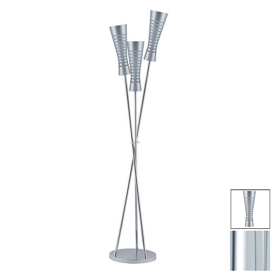 Paulmann 66-1/4-in Chrome Floor Lamp with Glass Shade