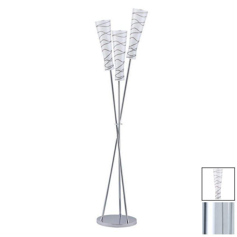 Paulmann 65-7/8-in Chrome Floor Lamp with Glass Shade