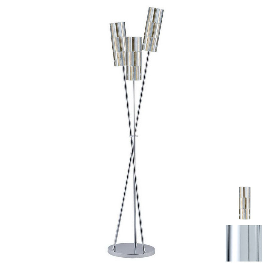 Paulmann 64-3/4-in Chrome Floor Lamp with Glass Shade