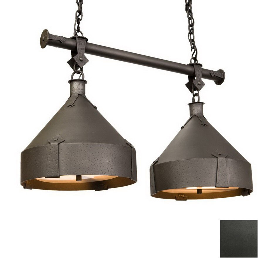30 in w 2 light olde iron kitchen island light with shade at. Black Bedroom Furniture Sets. Home Design Ideas