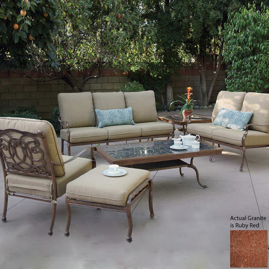 Shop darlee florence 6 piece aluminum patio conversation for At home patio furniture