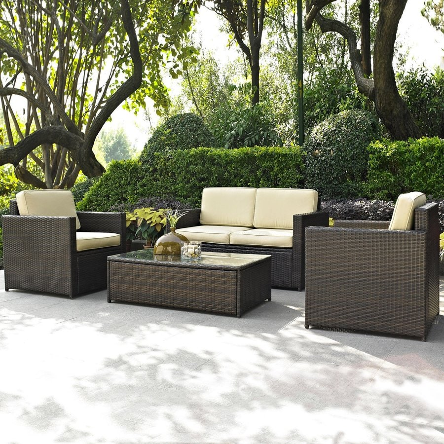 Shop crosley furniture palm harbor 4 piece wicker patio for Outdoor patio couch set