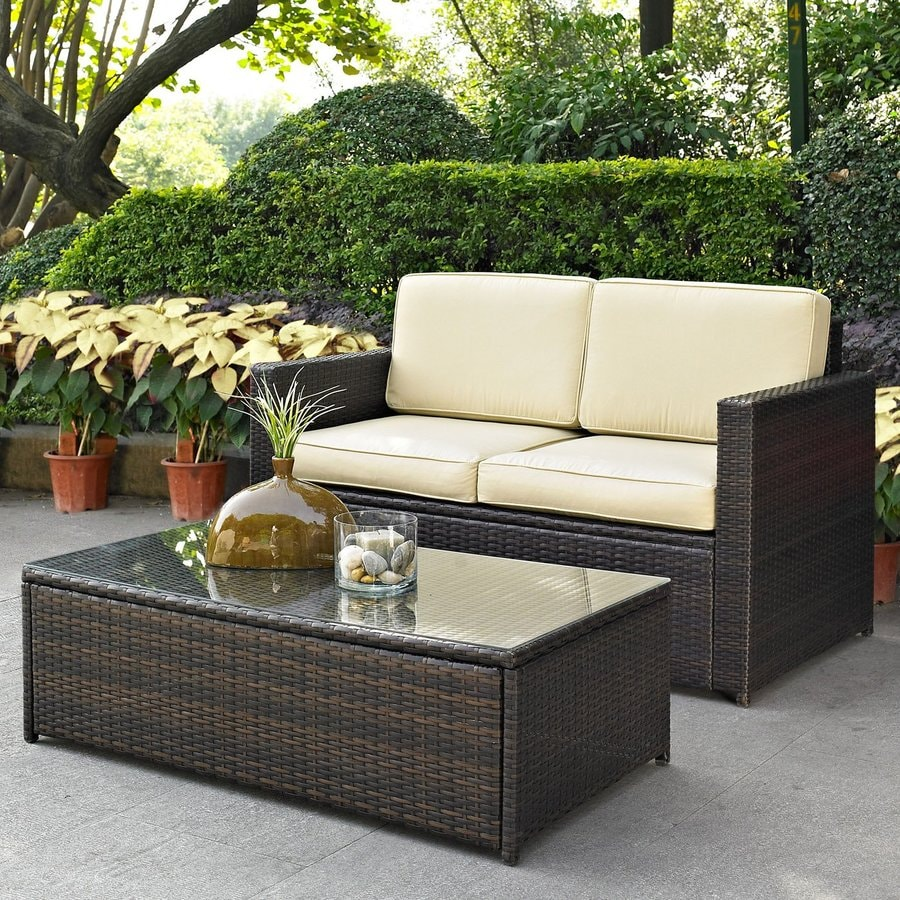 Shop crosley furniture palm harbor 2 piece wicker patio for Outdoor furniture loveseat