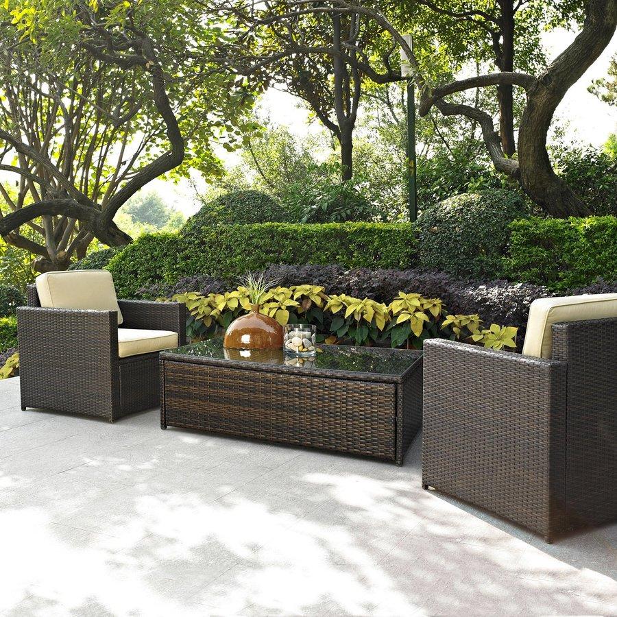 Furniture Palm Harbor 3 Piece Wicker Patio Conversation Set At Lowes