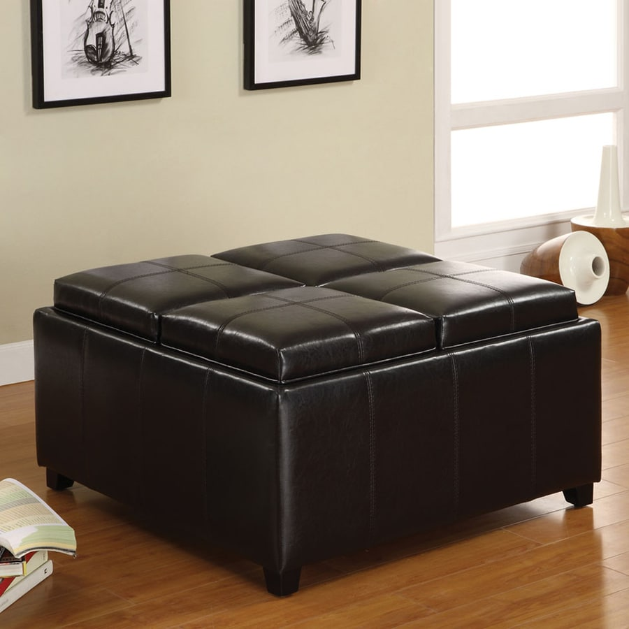 Furniture of America Elvina Espresso Square Storage Ottoman