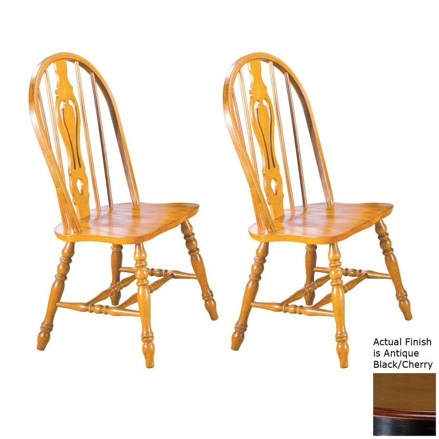 Sunset Trading Set of 2 Keyhole Antique Black/Cherry Side Chairs