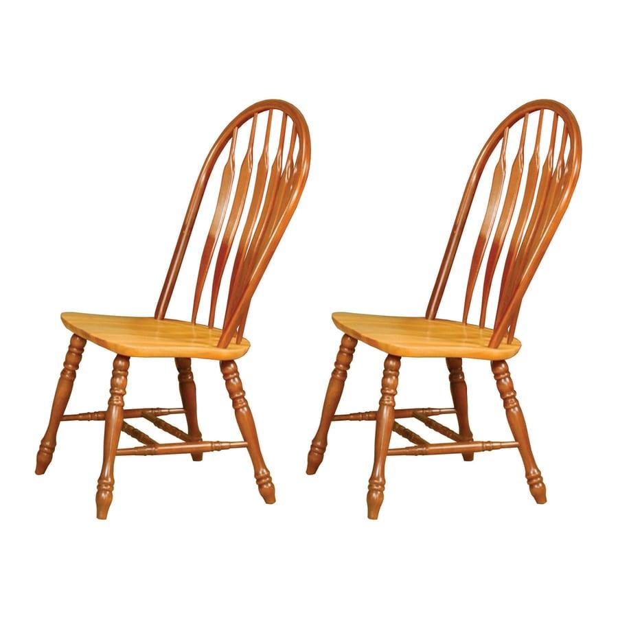 Sunset Trading Set of 2 Comfort Back Nutmeg/Honey Light Oak Side Chairs