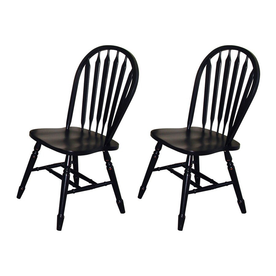 Sunset Trading Set of 2 Andrews Antique Black Side Chairs