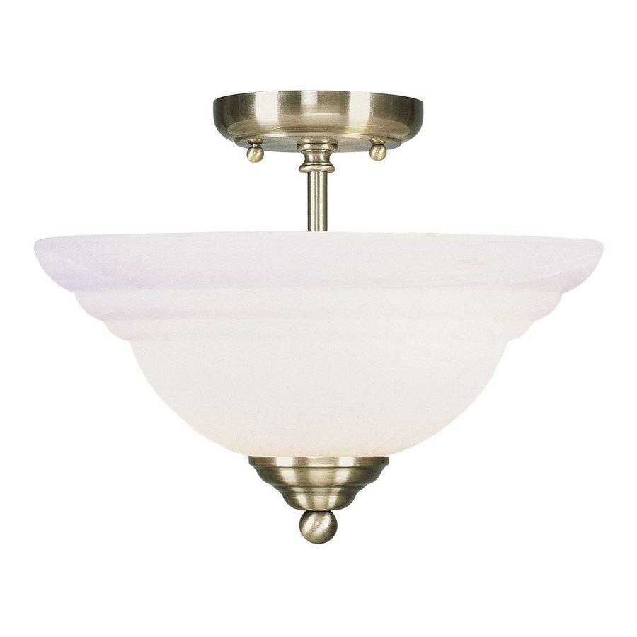 Livex Lighting North Port 13-in W Antique Brass Alabaster Glass Semi-Flush Mount Light