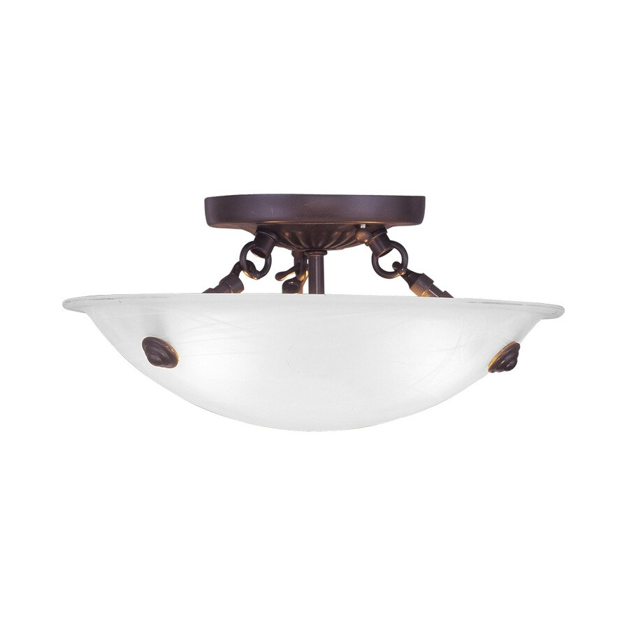 Livex Lighting Park Ridge 12-in W Bronze Alabaster Glass Semi-Flush Mount Light