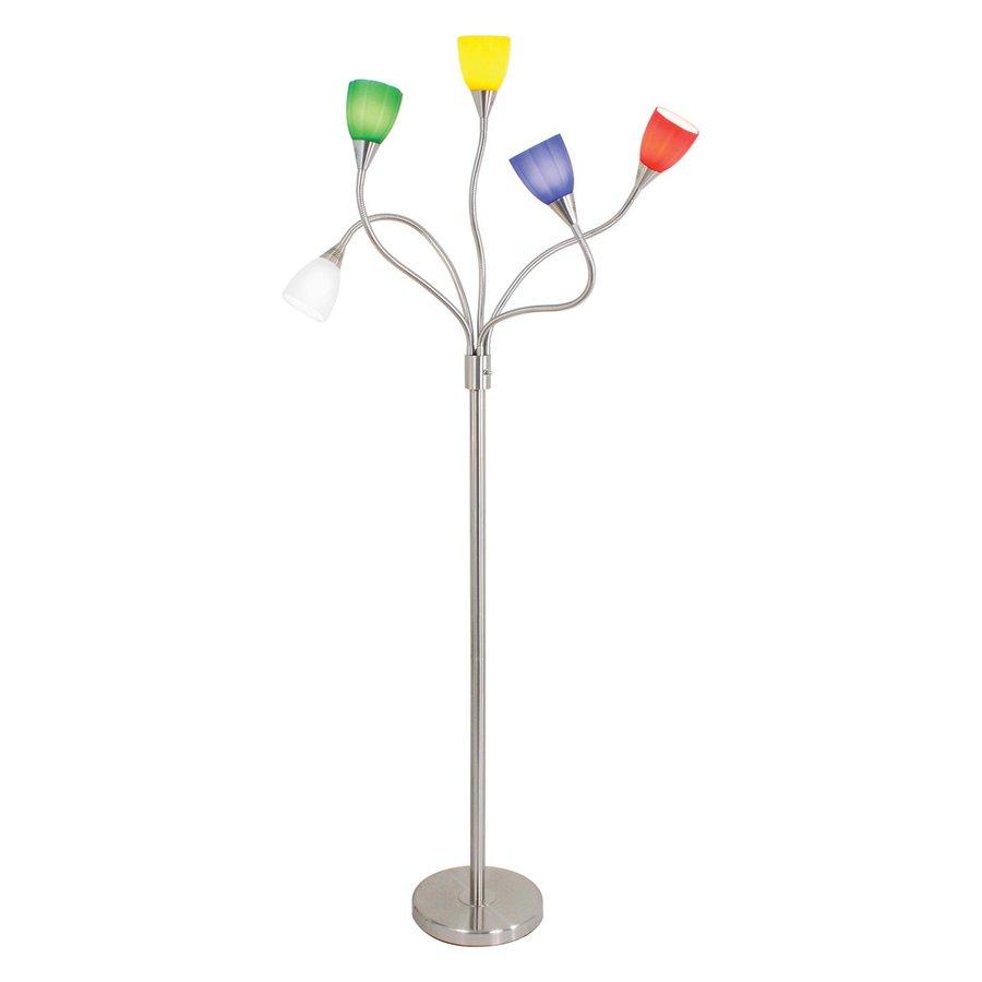 Lumisource 72-in Brushed Steel Multi-Head Indoor Floor Lamp with Glass Shade