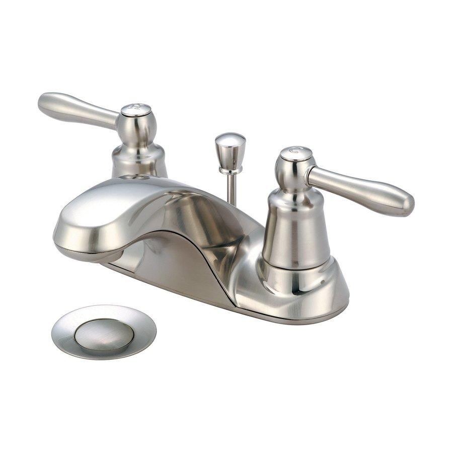 Pioneer Industries Legacy Brushed Nickel 2-Handle 4-in Centerset Bathroom Faucet (Drain Included)