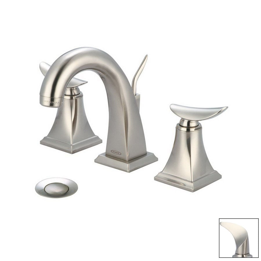 ... Brushed Nickel 2-Handle Widespread Bathroom Faucet (Drain Included) at