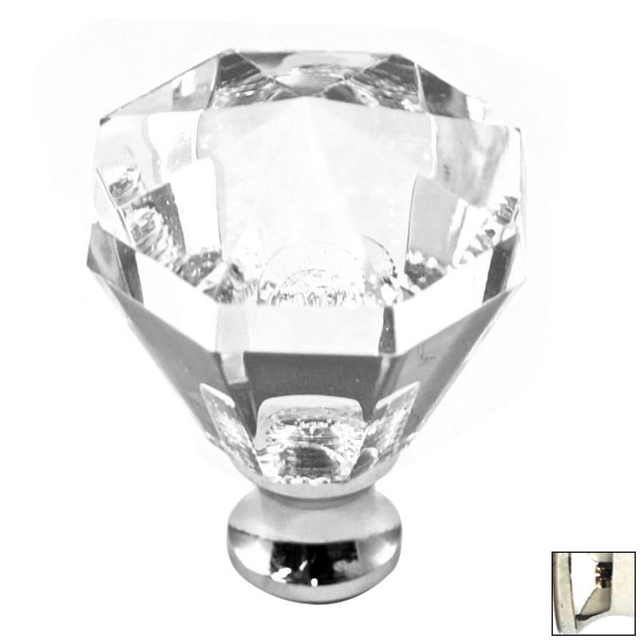 Cal Crystal Polished Nickel Crystal Octangular Cabinet Knob