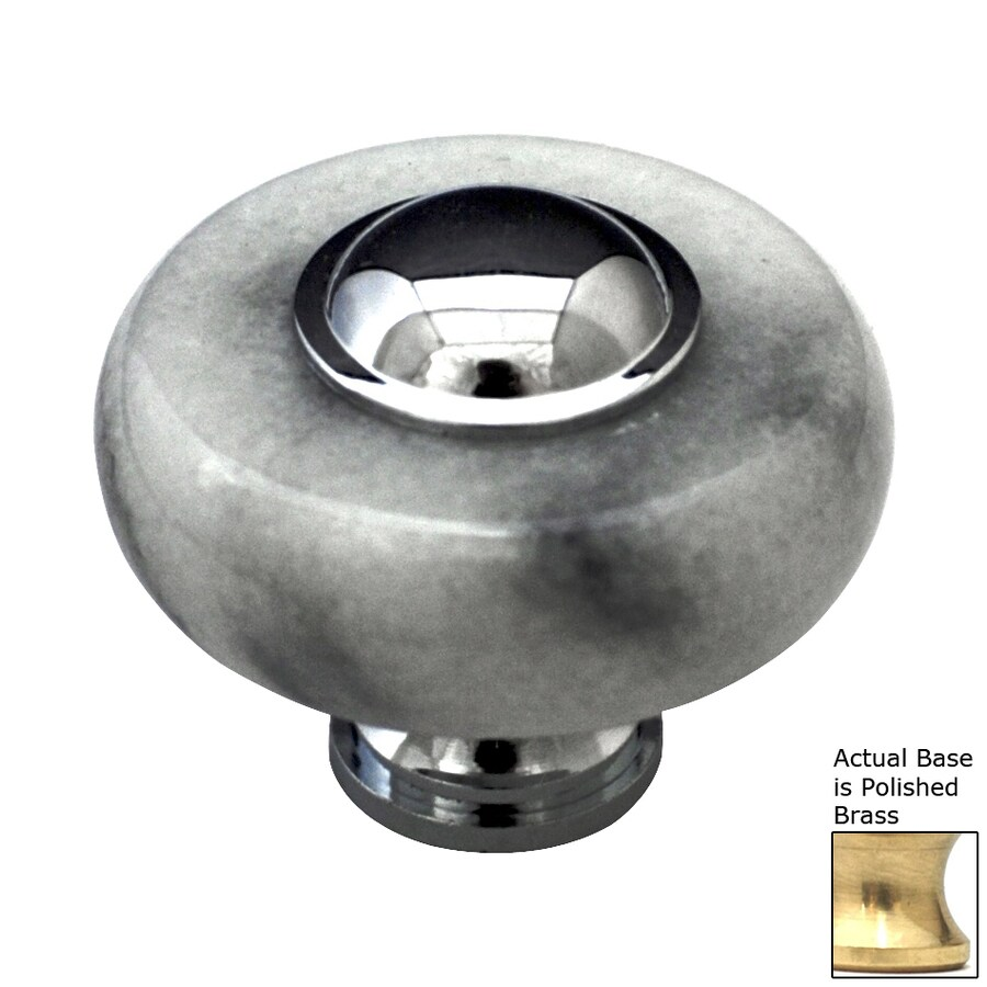 Cal Crystal Polished Brass Marble Round Cabinet Knob