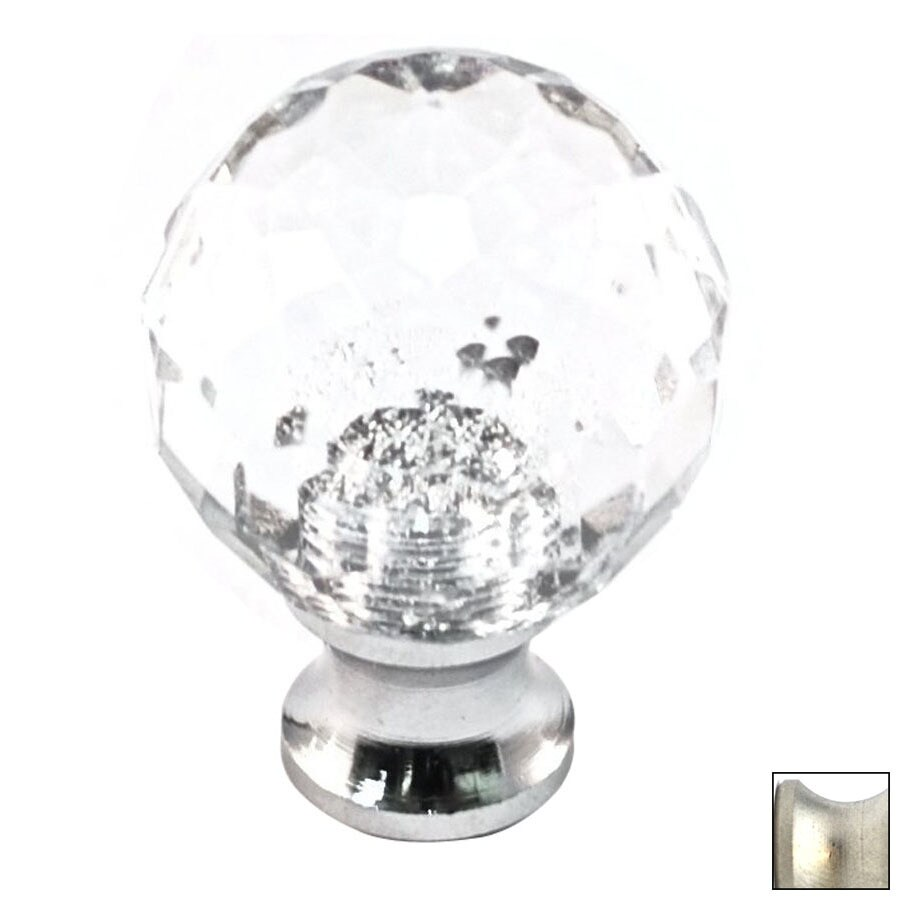 Cal Crystal Satin Nickel Crystal Globe Cabinet Knob