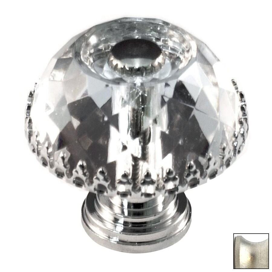 Cal Crystal Satin Nickel Crystal Mushroom Cabinet Knob
