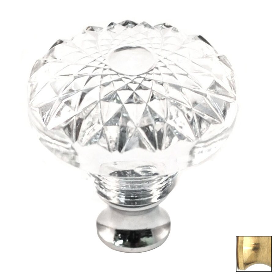 Cal Crystal Polished Brass Crystal Round Cabinet Knob