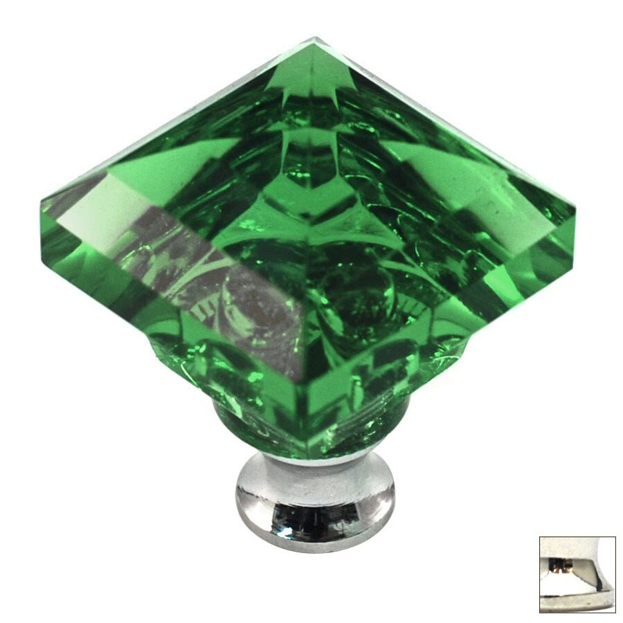 Cal Crystal Polished Nickel Crystal Square Cabinet Knob