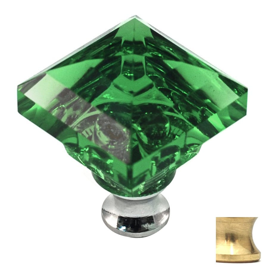 Cal Crystal Satin Brass Crystal Square Cabinet Knob