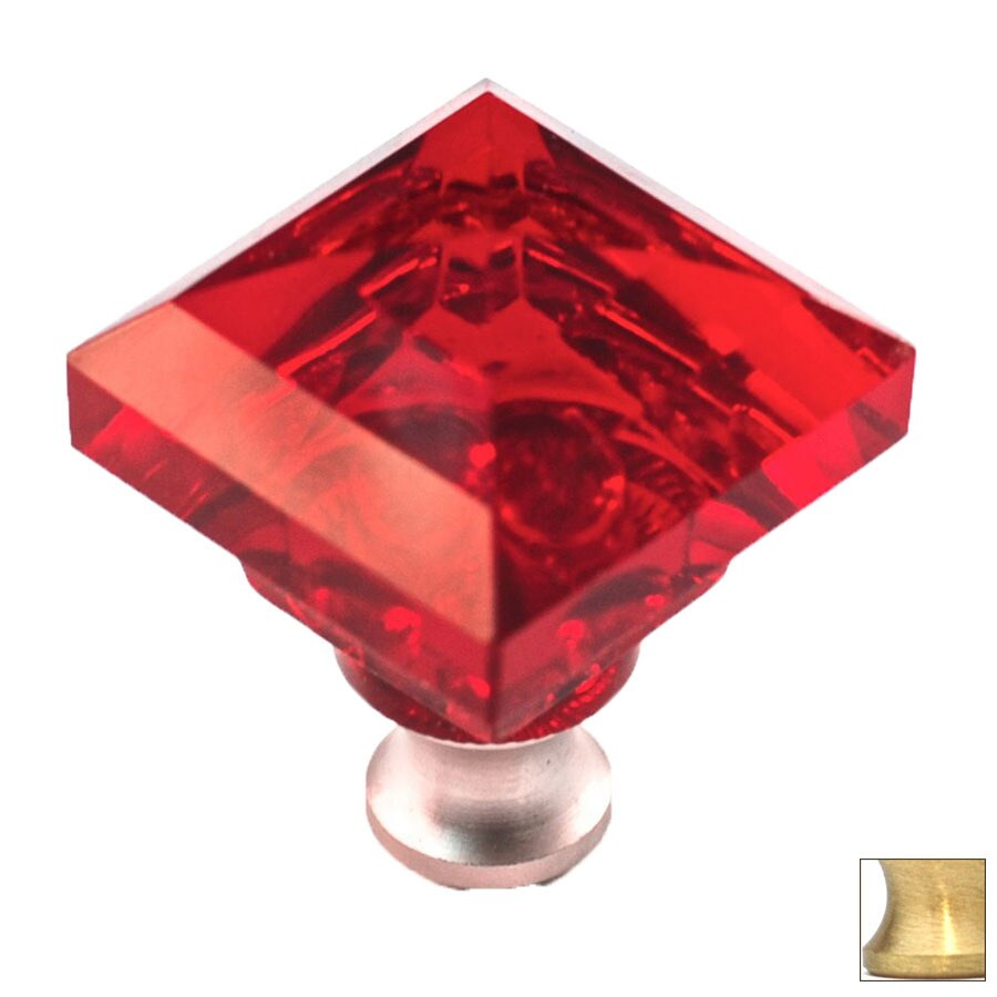 Cal Crystal Satin Brass Crystal Square Cabinet Knob