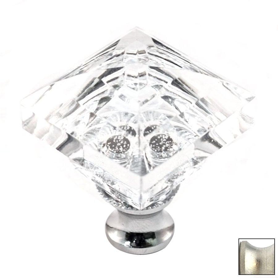 Cal Crystal Satin Nickel Crystal Square Cabinet Knob