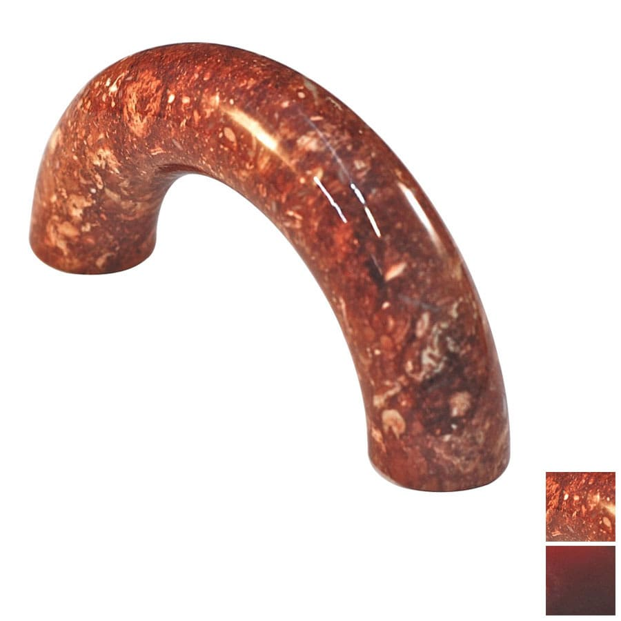 Cal Crystal 3-in Center-to-Center Red Marble Arched Cabinet Pull