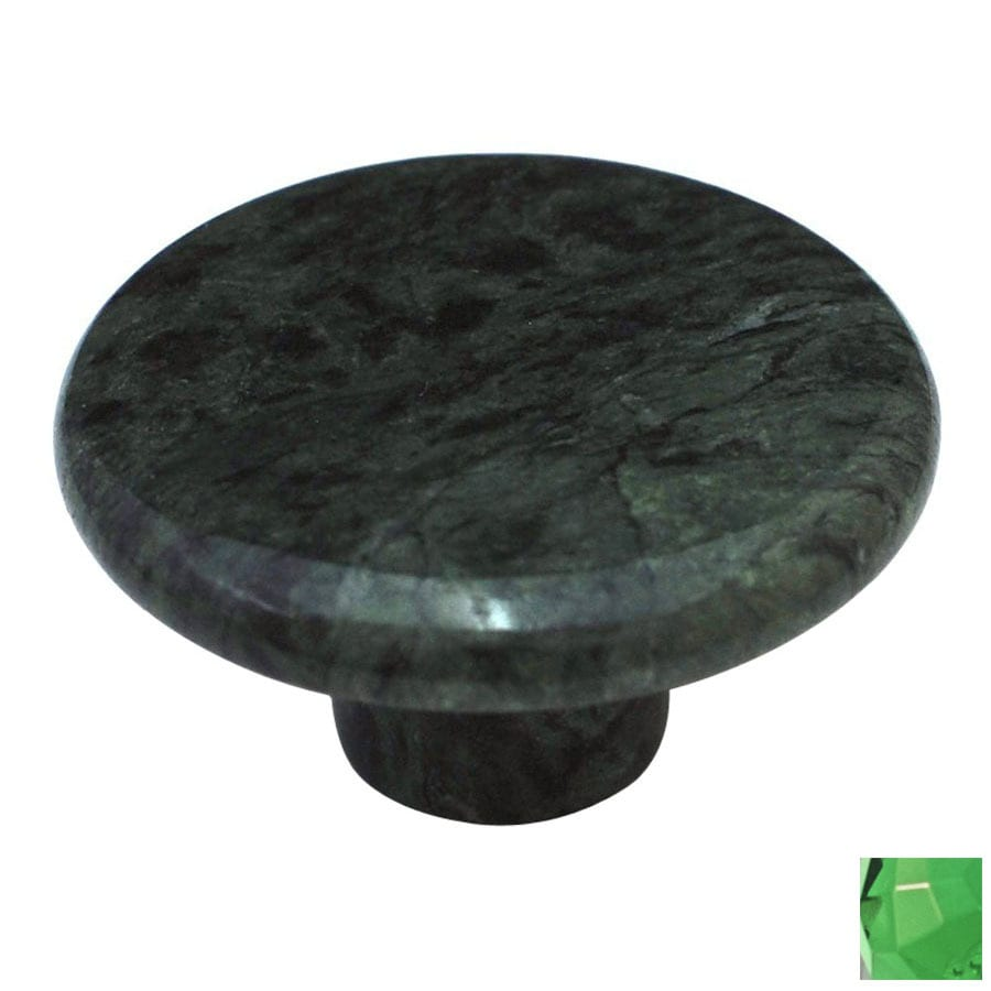 Cal Crystal Green Marble Round Cabinet Knob