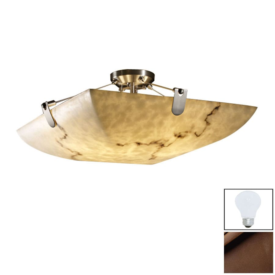 Cascadia Lighting 27-in W Dark Bronze Alabaster Glass Semi-Flush Mount Light