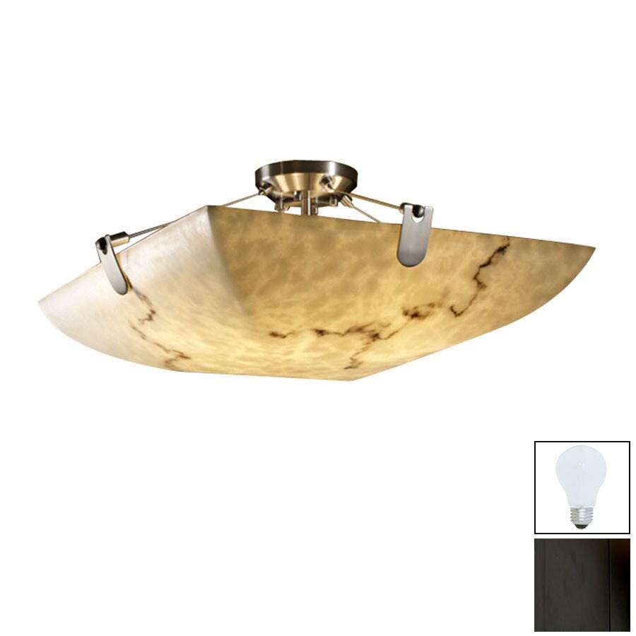 Cascadia Lighting 27-in W Matte Black Alabaster Glass Semi-Flush Mount Light
