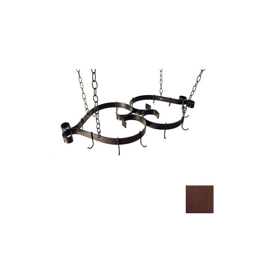 Grace Collection 35-in x 16-in Aged Iron Pot Rack