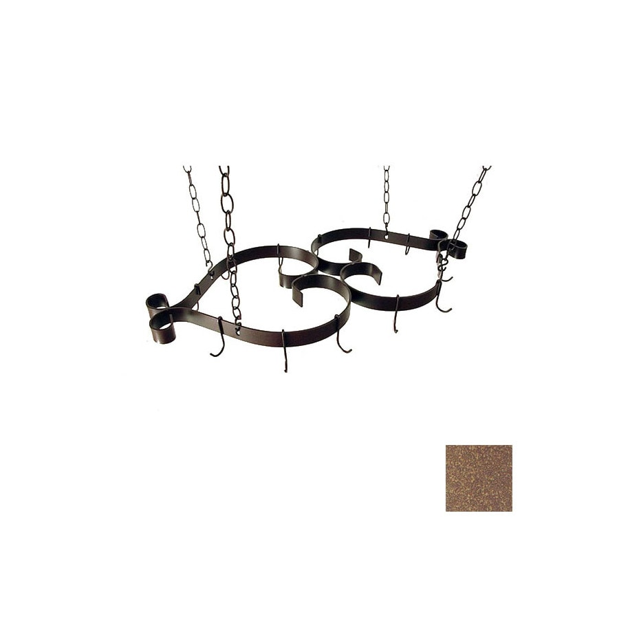 Grace Collection 35-in x 16-in Burnished Copper Pot Rack