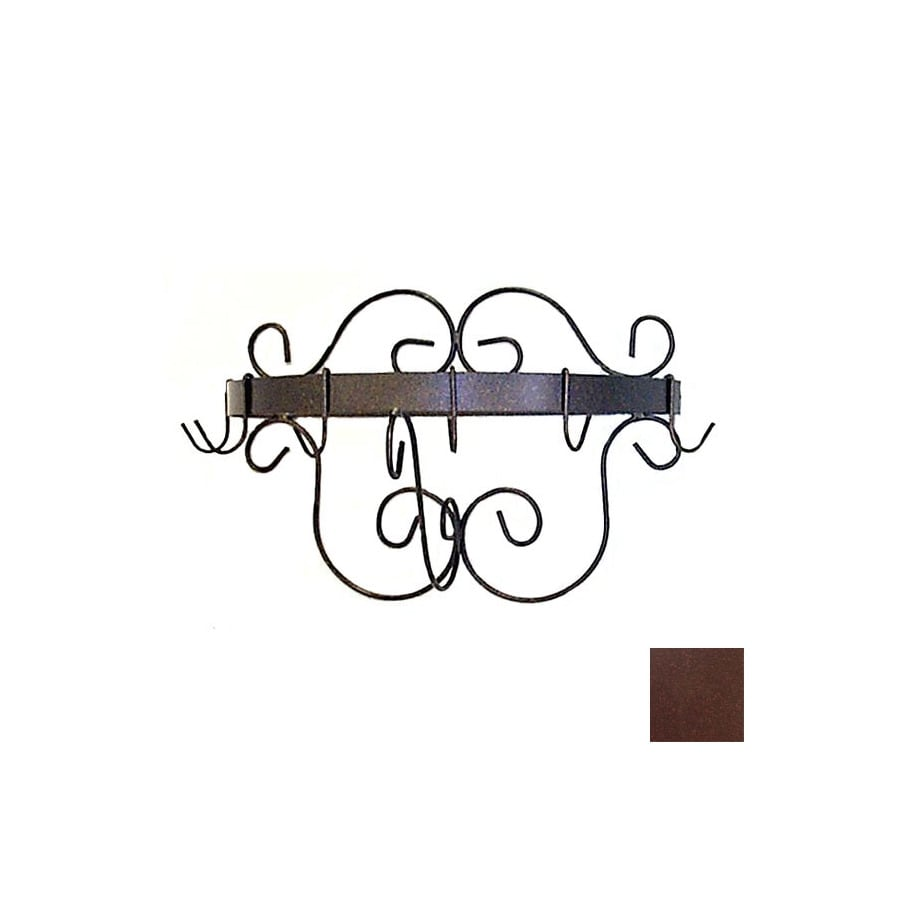Grace Collection 20-in x 10-in Aged Iron Half Round Pot Rack