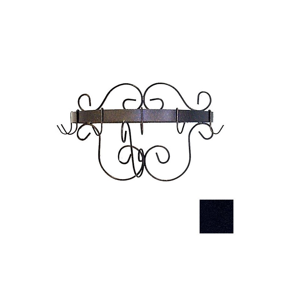 Grace Collection 20-in x 10-in Satin Black Half Round Pot Rack