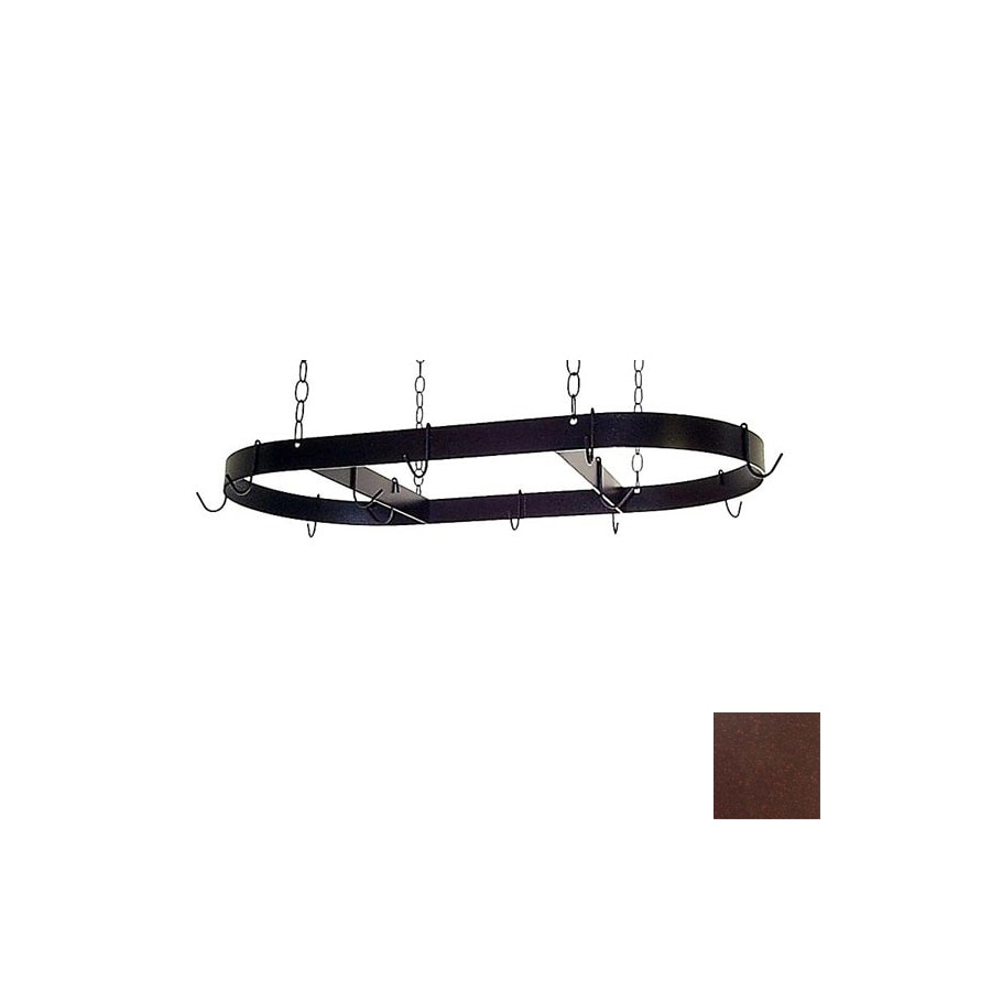 Grace Collection 36-in x 18-in Aged Iron Oval Pot Rack
