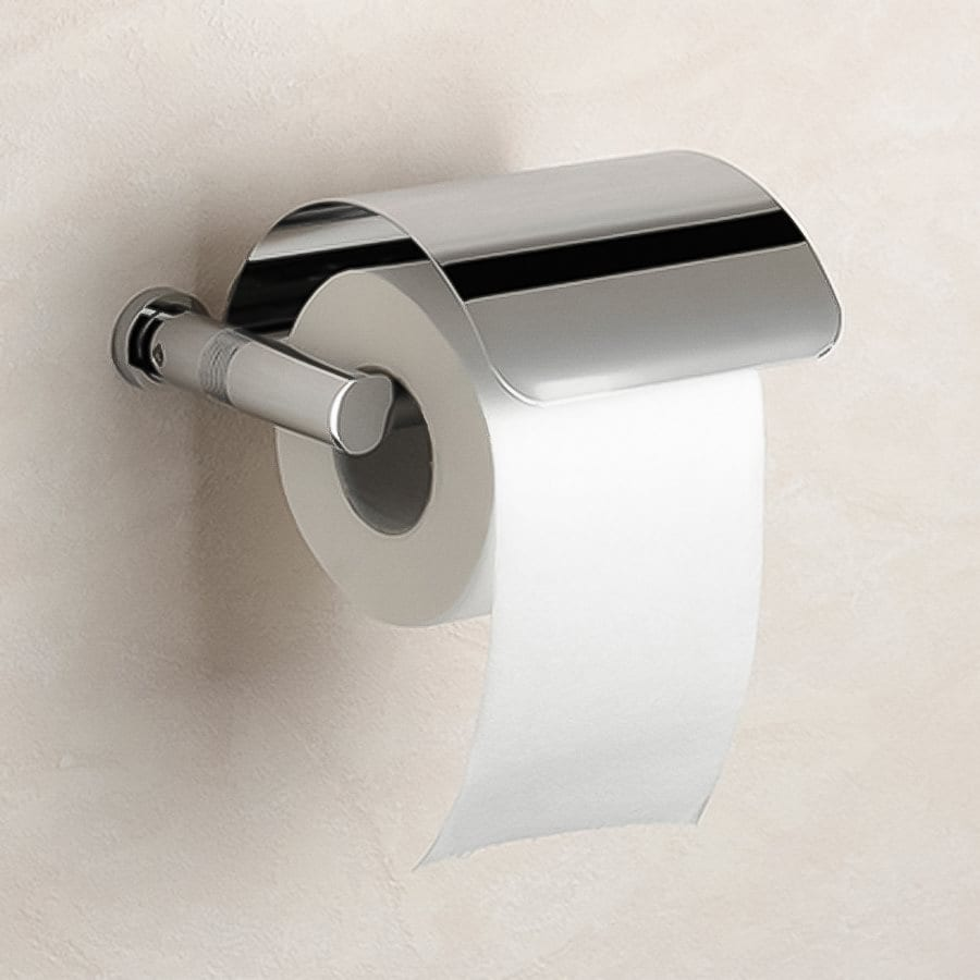 Nameeks Windisch Cylinder Chrome Surface Mount Toilet Paper Holder with Cover