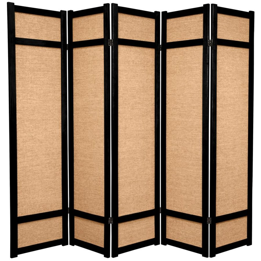 Shop oriental furniture jute 5 panel black wood and fabric for Wood privacy screen panels