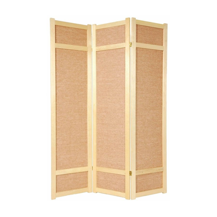 Oriental Furniture Jute 6-Panel Natural Wood and Fabric Folding Indoor Privacy Screen