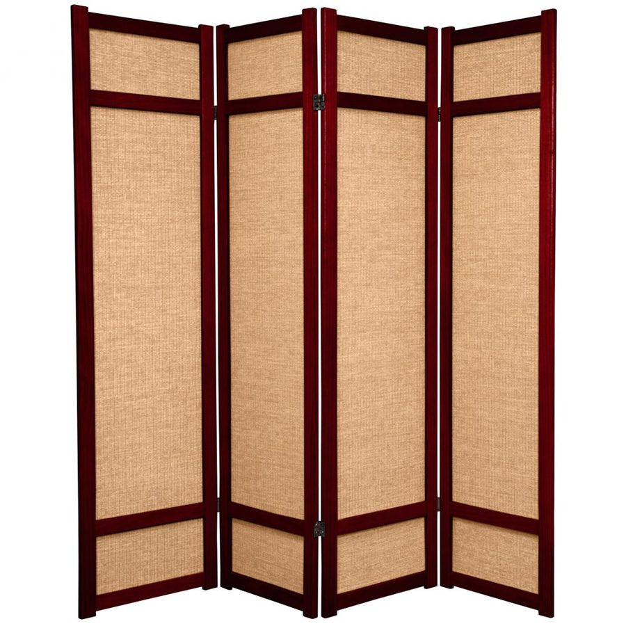 Oriental Furniture Jute 4-Panel Rosewood Wood and Fabric Folding Indoor Privacy Screen
