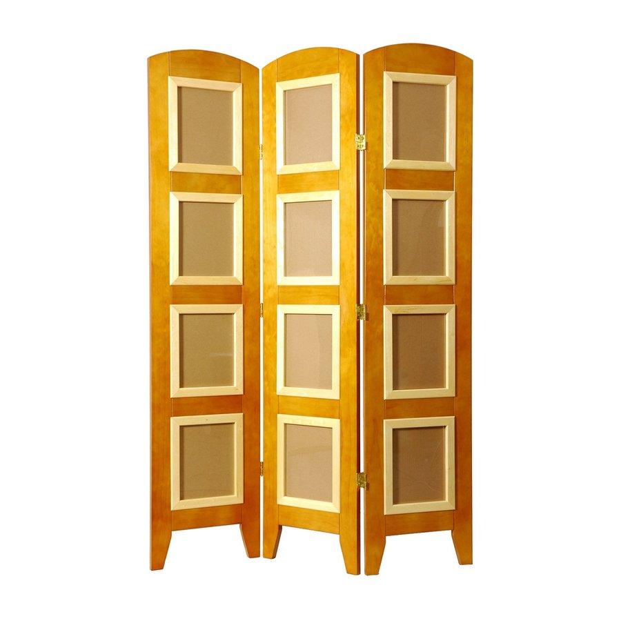 Oriental Furniture 4-Panel Honey Wood Folding Indoor Privacy Screen
