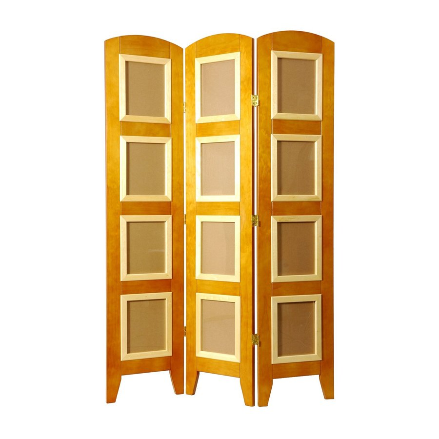 Oriental Furniture 6-Panel Honey Wood Folding Indoor Privacy Screen