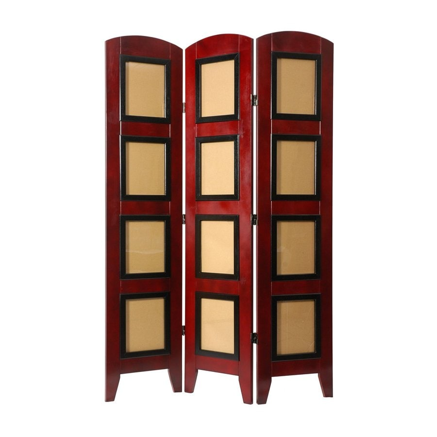 Oriental Furniture 4-Panel Rosewood Wood Folding Indoor Privacy Screen