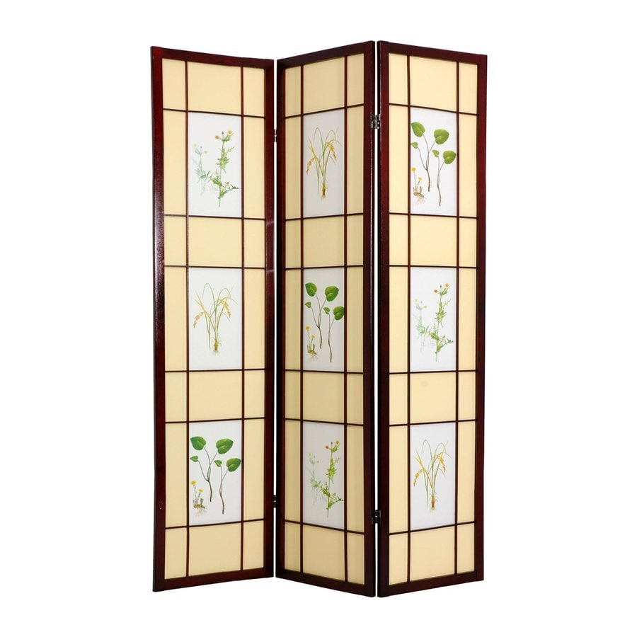 Oriental Furniture Herbal Floral 6-Panel Rosewood Wood and Paper Folding Indoor Privacy Screen