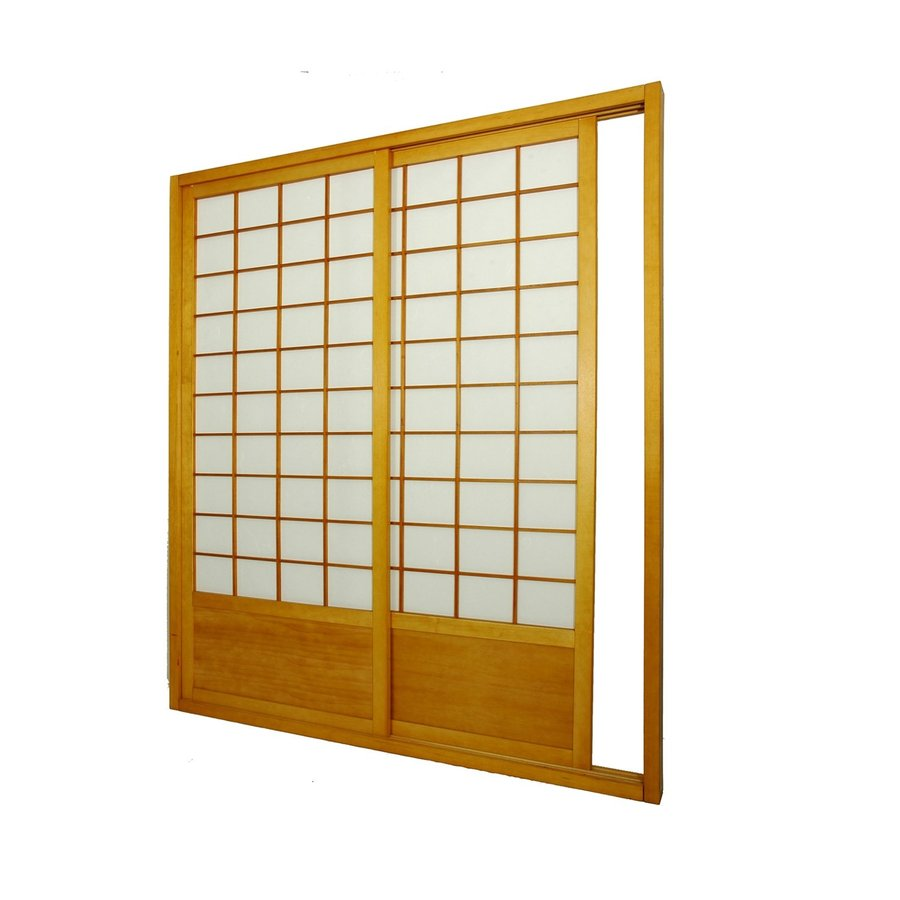 Oriental Furniture 2-Panel Honey Wood and Paper Indoor Privacy Screen